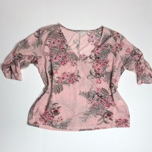 Lucky Brand Floral Dusty Pink Top Small